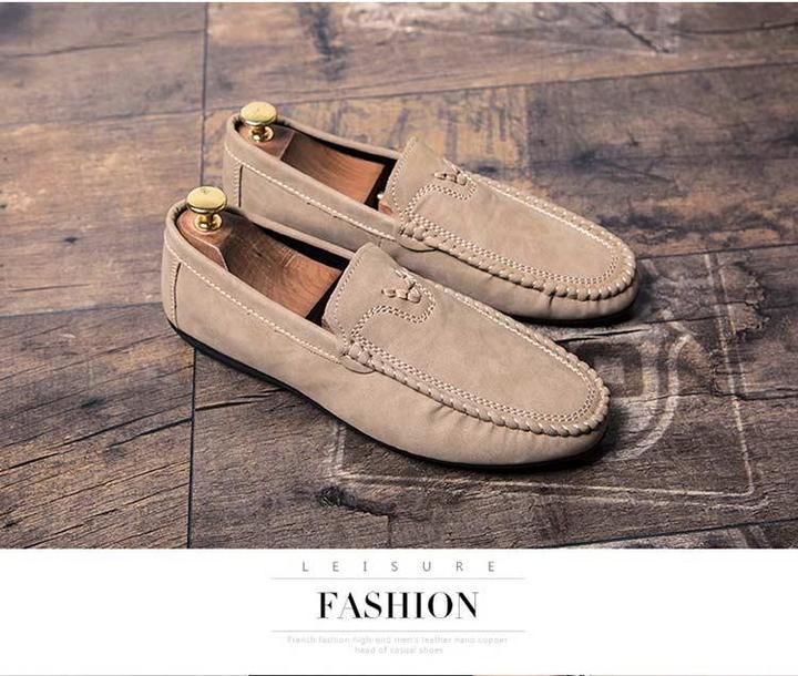 Taotao fashion- New Men Shoes Casual Fashion Peas Shoes Leatherwear light brown 42