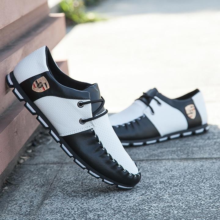 Taotao fashion- Mens Shoes Casual Fashion Peas Shoes Leatherwear black and white 40
