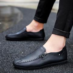 New Bean Shoes Men's Leisure Leather Shoes Men Shoes black 39