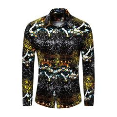 TaoTao fashion-Men's Pure Cotton Long Sleeve Golden Shirt flower color l