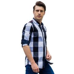 TaoTao fashion-Men's casual long sleeve shirt pure cotton checked matching shirt black, m