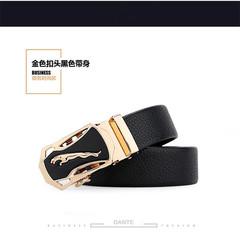 Taotao fashion-Men's belt leopard head automatic buckle business belt golden 120-130cm