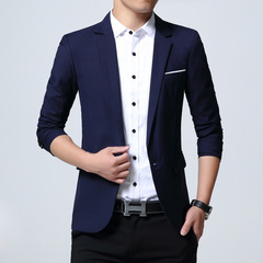 Men's Casual Suit Men's Suit Jacket Men's Clothes Suits navy blue m