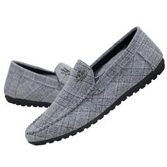 TAOTAO FASHION Men's Leisure Canvas Shoes Beans Shoes Driving Shoes gray 39