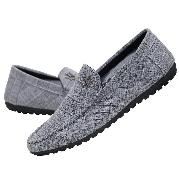 TAOTAO FASHION Men's Leisure Canvas Shoes Beans Shoes Driving Shoes gray 40