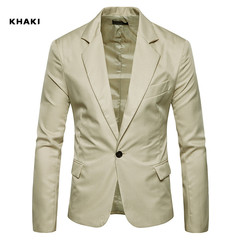 TAOTAO FASHION-Men's Slim Fashion Solid Color Suits khaki m