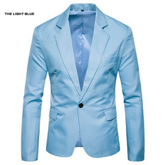TAOTAO FASHION-Men's Slim Fashion Solid Color Suits Light blue 3xl
