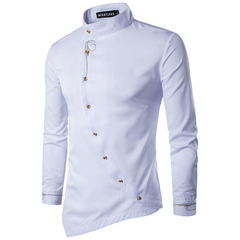 TAOTAO FASHION Men's shirt fashion casual buttoning shirt preferred explosive white m