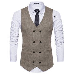 TAOTAO FASHION Men's Waistcoat Men's Suit Fashionable Horse Clip khaki m