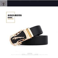 Taotao Fashion-Men Leather Belt  Business Fashion Belt golden 130CM