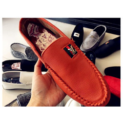 Taotao fashion-Men Flats Light Breathable Shoes Shallow Casual Shoes Soybean shoes orange 40