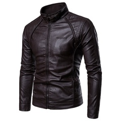 TAOTAO FASHION Stand Collar Men's Casual Leather Jacket coffee xxl