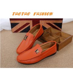 Taotao fashion men shoes Men Flats Light Breathable Shoes Shallow Casual Shoes Soybean shoes orange 40