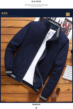 TAOTAO FASHION Men's Jacket Men Slim Cotton Casual Coat Fashion youth collar black xxxl