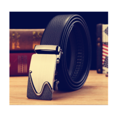 Taotao Fashion-Men Leather Belt  Business Fashion Belt Black-S 130CM