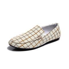 TAOTAO FASHION men shoes Men Leisure Canvas British style Shoes Driving Shoes Light yellow 44