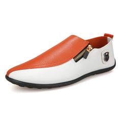 TAOTAO FASHION Men's Shoes Breathable Casual Shoes Lightweight Driving Shoes Man Shoes FBK SHOES orange and white 44