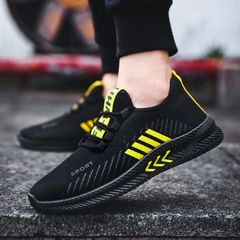 TAOTAO Mens Shoes Men Sports Casual Shoes Latest Fashion Sneakers Breathable Running Shoes Man Shoes black and yellow 44