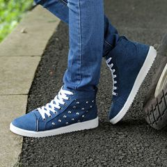 TAOTAO Men's Shoes High Top FBK Sneakers Men Casual Shoes Men Denim Canvas Natural Rubber Sole blue 43