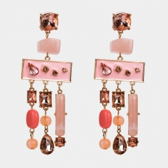 JH 2018  Exaggerated Retro Earrings Alloy Diamond Dangle Earrings Women's Fashion Jewelry Accessory pinky onesize