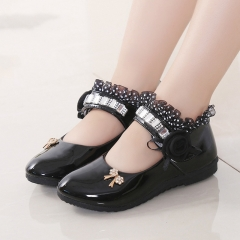 Hot Girls Shoes Lovely Diamond Bow Children Sandals High Quality Princess Kids Shoes Children Shoes black 21