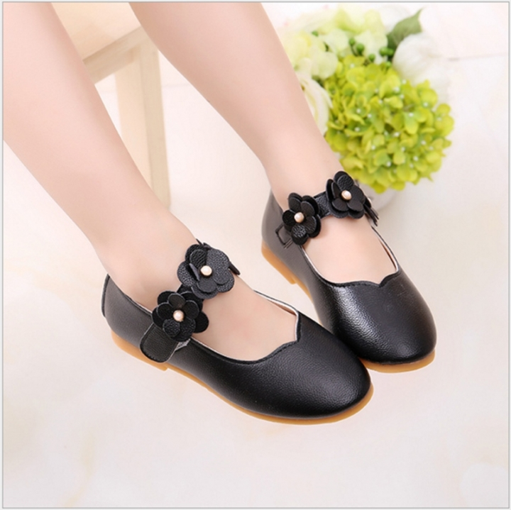 2018 Spring Children Shoes for Girls Kids Casual Leather Flower Shoes Sneakers Baby Toddler Shoes black 21