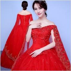 Fashion Off-Shoulder Wedding Dress Bride Wedding Shawl Flat Wedding Gowns s red