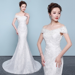 1 Piece Sexy Elegant Off Shoulder Lace Up Mermaid Trailing Wedding Dresses Bride Dresses Ball Gowns s white