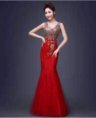 1 Piece Sleeveless Wedding Bridesmaid Dresses Ladies Evening Party Formal Dresses Ball Gowns s red