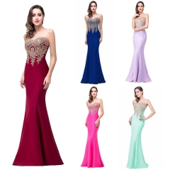1 Piece Sexy See Through Sleeveless Evening Dresses Appliques Bride Dresses Bridesmaid Ball Gown s wine red