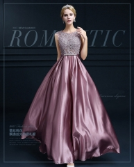Women Elegant Sleeveless Backless Applique Floor Length Evening Dresses Bride Dresses Ball Gowns s pink purple