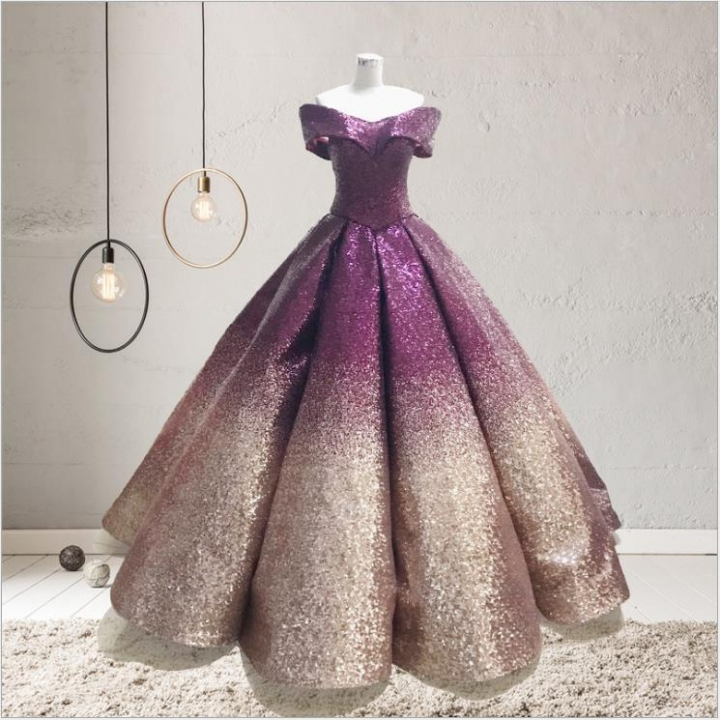 1 Piece Gorgeous Palace Style Dreaming Wedding Dresses Gradient