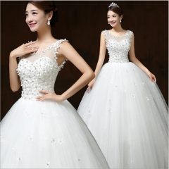1 Piece High Quality Diamond Flowers Appliques Wedding Dresses Elegant Bridal Dresses Ball Gowns s white