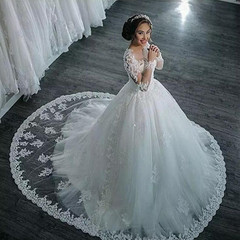 Custom Made Luxury Lace Bridal Wedding Gown Trailing Tulle Wedding Dresses Bride Dress Ball Gowns s white
