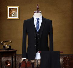 Brand Men Wedding Suit Two Pcs Blazer&Pants Bridegroom Custom Slim Business Casual Suits black m
