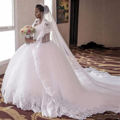 Gorgeous Lace Wedding Dresses Trail Wedding Gown Slim Bride Dresses Brand Wedding Clothes 2 white