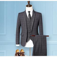 High Quality Luxury Men Wedding Suit Three Pcs Blazer&Vest&Pants Bridegroom Business Casual Suits gray m