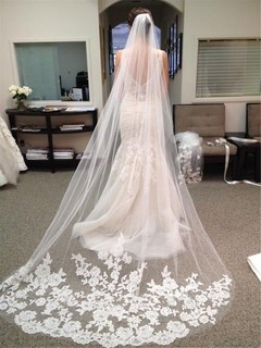 3 Meter Long Lace Appliques Cathedral Wedding Veils Fashion Romantic Bridal Veil Lace Edge 3 meters white no face cover