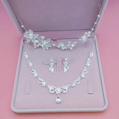 2019 Wedding Jewelry Bride Headdress 3 Pcs Crystal Crown Necklace Earrings Wedding Accessories suit 2 Adjustable