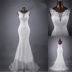 2019 Hot Selling Romantic Mermaid Wedding Dresses Lace Appliques Princess Bride Dresses Wedding Gown 2 white