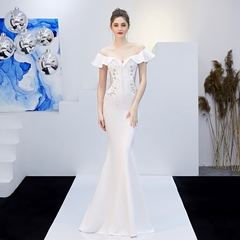 Africa Newest Evening Party Dress Elegant White Party Gown Banquet Party Dresses Wedding Bride Gown s white