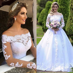 2019 New Lace Wedding Dresses Off Shouler Wedding Gown Trailing Bride Dresses Brand Wedding Clothes 2 white