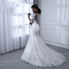 Manga Mermaid Pearls Lace Wedding Dresses Bridal Gowns Fishtail Bride Dresses Brand Wedding Clothes 2 style 1