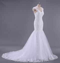 Mermaid Wedding Gown New Lace Wedding Dresses Fishtail Bride Dresses Brand Wedding Clothes 2 white