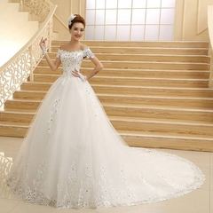 Lace Wedding Dresses Trail Off Shoulder Gorgeous Wedding Gown Bride Dresses Brand Wedding Clothes 2 white