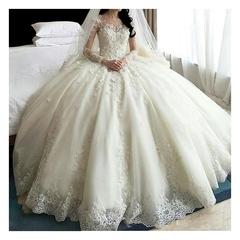High Quality Lace Wedding Dresses Long Sleeve Big Trail Fashion Wedding Gown Bridal Dresses Gown 2 white