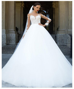 2019 Fashion Lace Wedding Dresses Long Sleeve Satin Wedding Gown Romantic Bridal Dresses Gown 2 style 1
