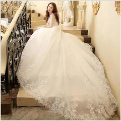 2019 Newest Lace Wedding Dress Fashion Off Shoulder Trail Wedding Gown Bridal Dresses Gown 2 white