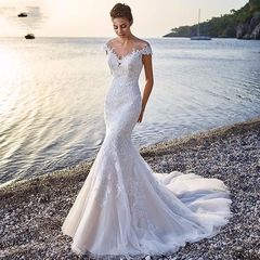 2019 Newest Mermaid Lace Wedding Dress Sexy Off Shoulder Wedding Gown Fashion Bridal Dresses Gown 2 white