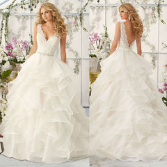 Fashion Lace Wedding Dresses Long Sleeveless Trial Wedding Gown 2019 Hot Sell Bridal Dresses Gown 2 white
